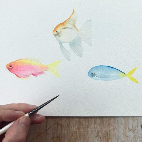tutorial watercolour tropical fish