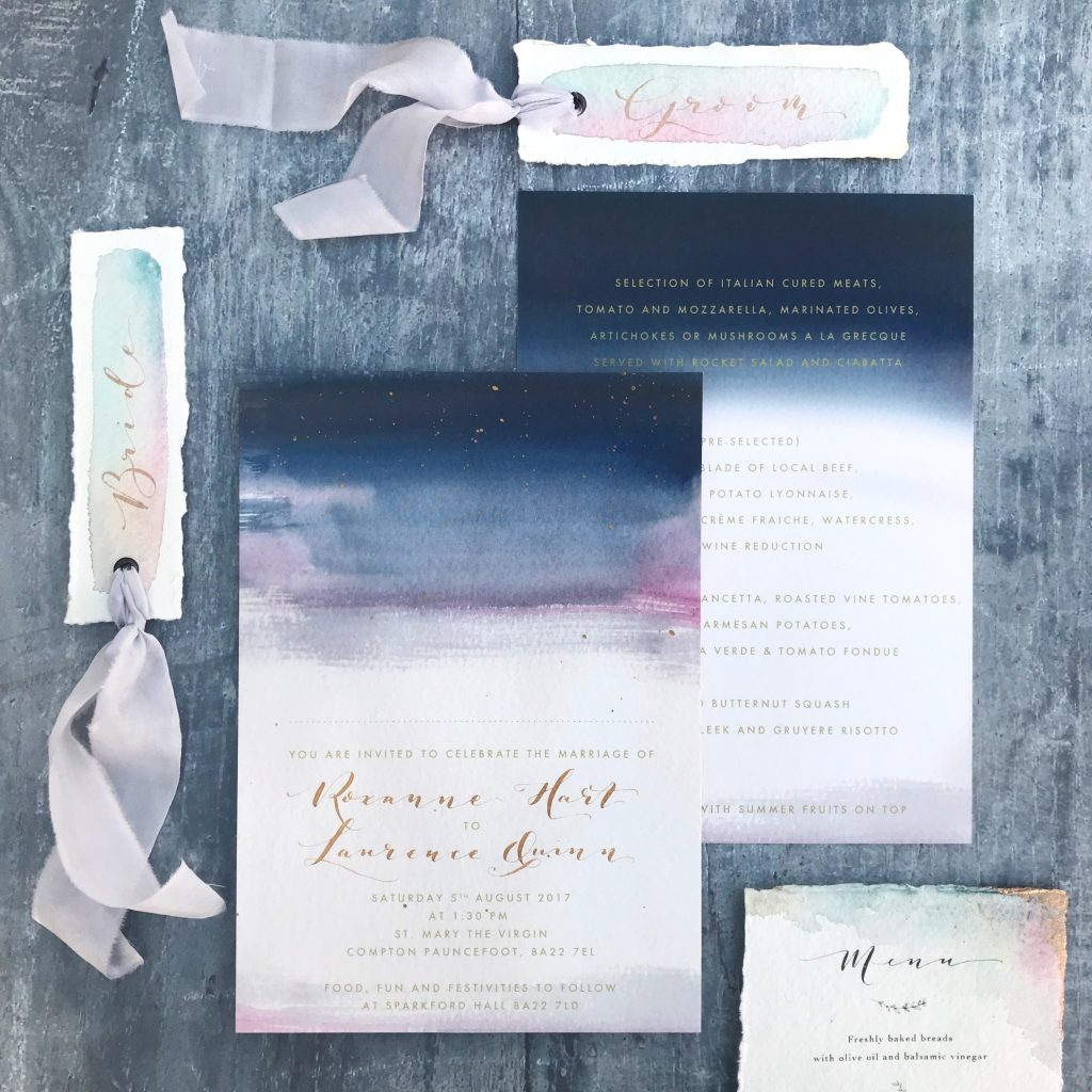 de Winton Paper bespoke watercolour wedding stationery