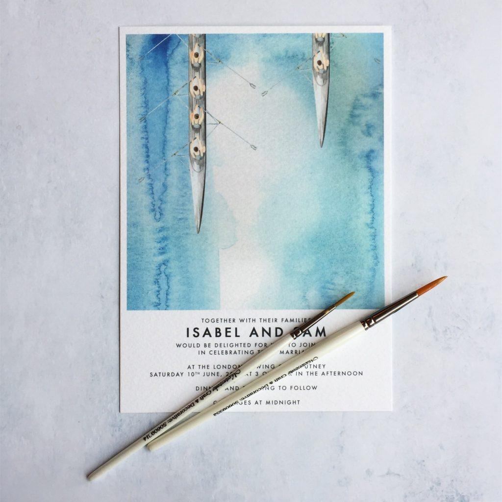 de Winton Paper co. Hand painted watercolour putney rowing club wedding invitation