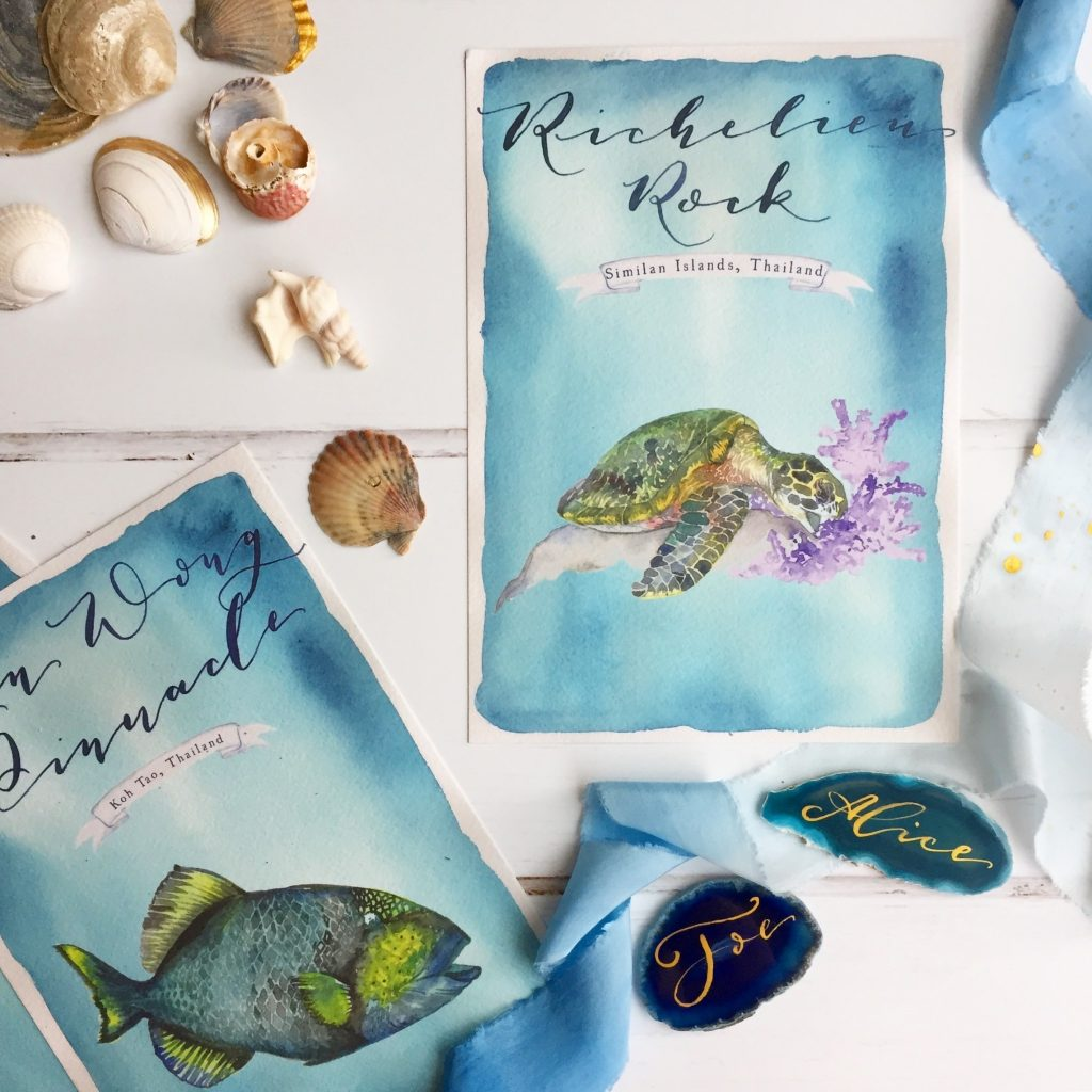 de Winton paper co. Hand painted under the sea table name cards