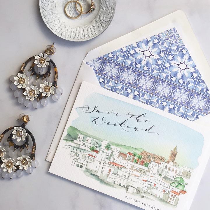 de Winton paper co. Destination wedding hand painted wedding stationery