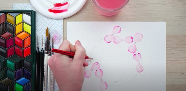 How to Paint a Flowering Dogwood Watercolour Wreath