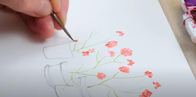 painting miniature flowers