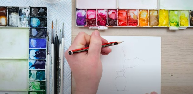 Using pencil in watercolour painting