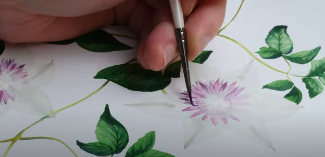 painting detailed clematis