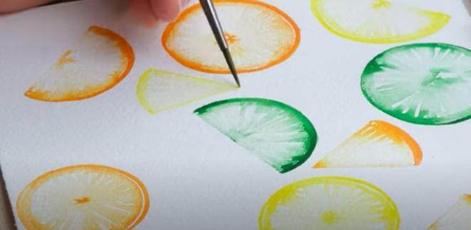 painting citrus fruit