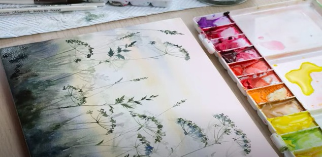 defining watercolour using rigger brush