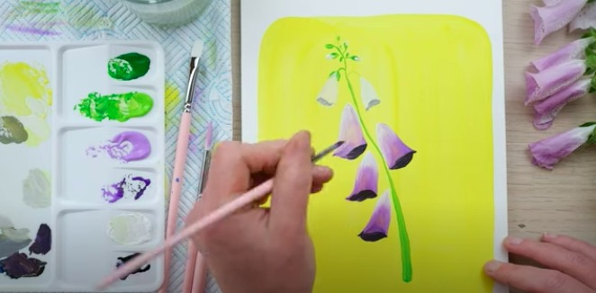 painting a flower using gouache