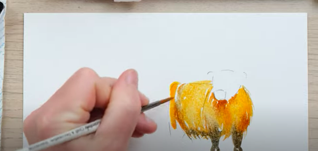 Using a larger brush in watercolour