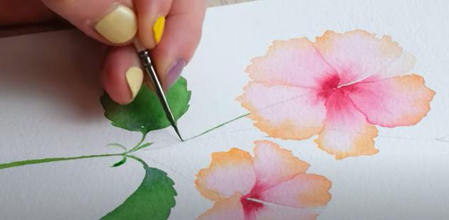painting hibiscus flower leaves