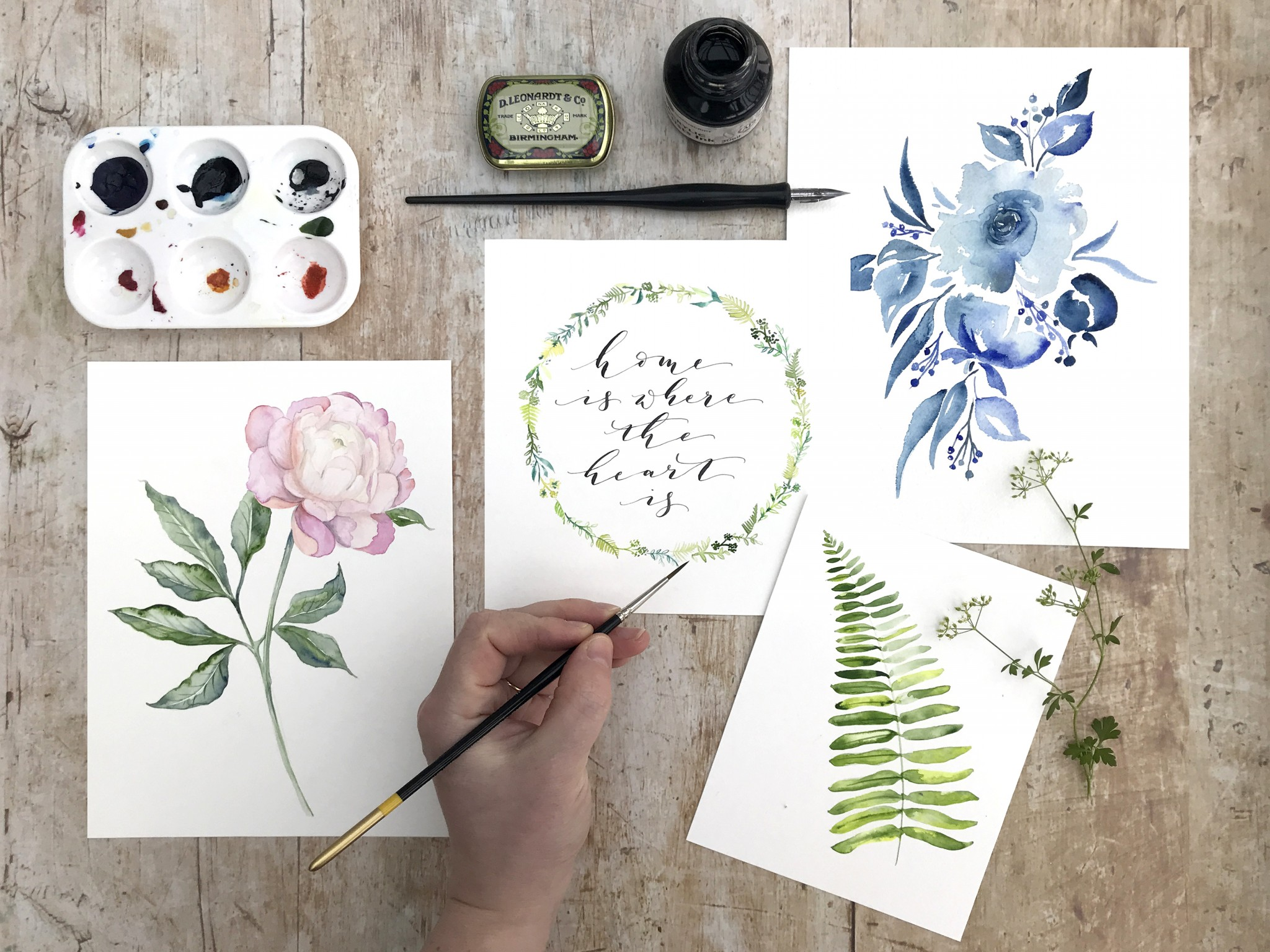 Watercolour and calligraphy at River cottage