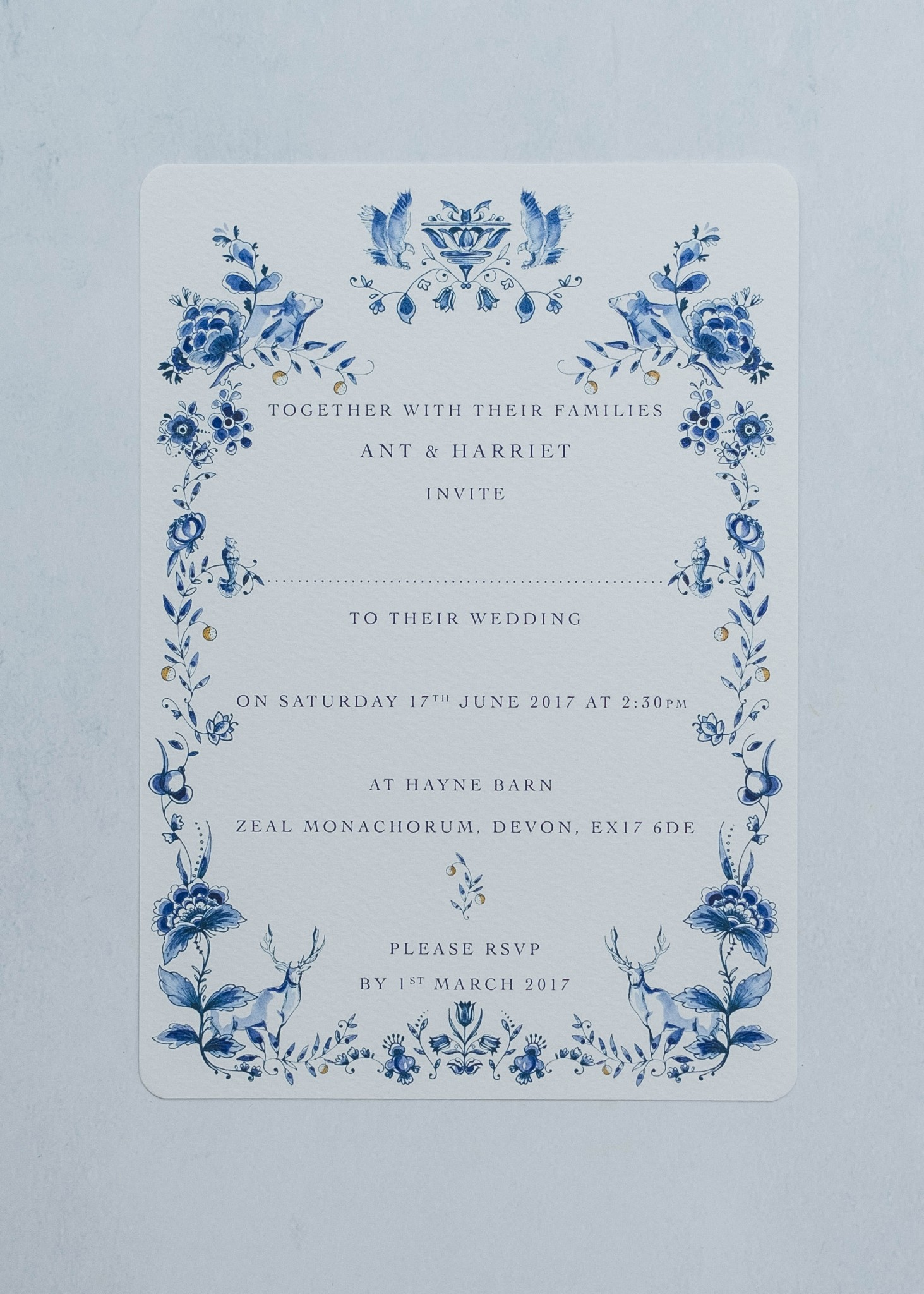 Ophelia Invitation. Image Farwood photography
