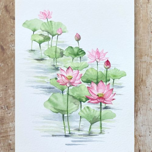 how to paint watercolour lotus flowers