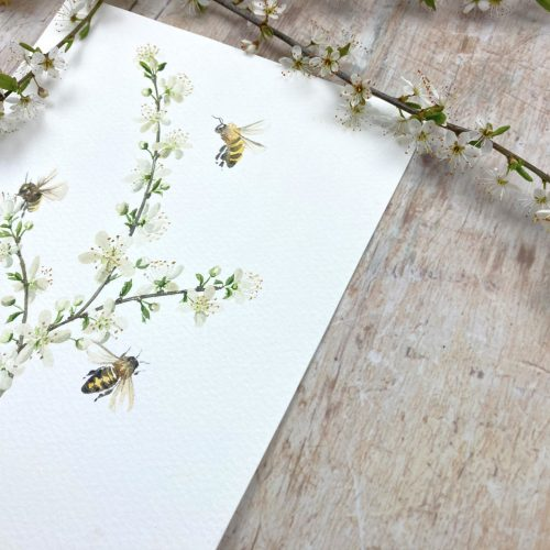 Honey bees and hawthorn blossom painting