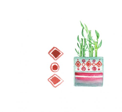 house plant watercolour worksheet