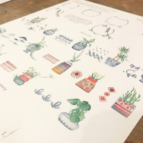 watercolour worksheet house plants