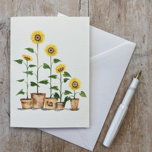 how to paint sunflowers greetings card