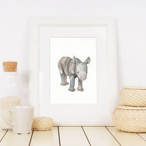 rhino safari nursery print