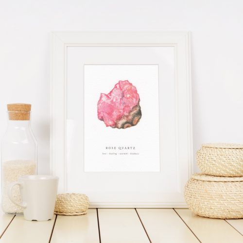 rose quartz crystal print