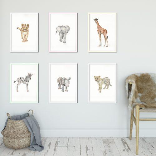 safari nursery print full set