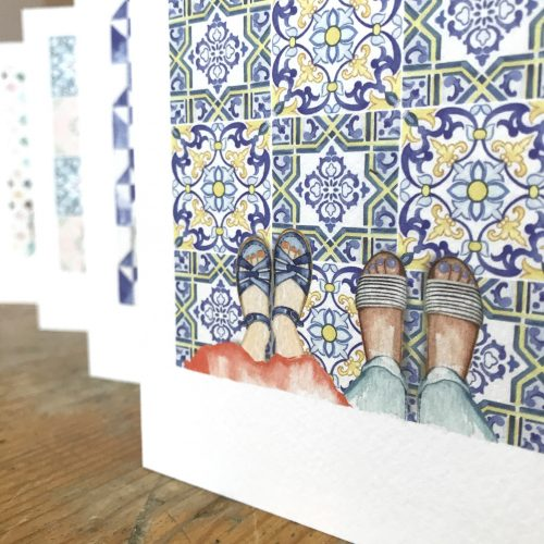 pack of tiled floor feet cards